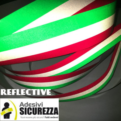 Reflective Italian flag vinyl adhesive band for car and