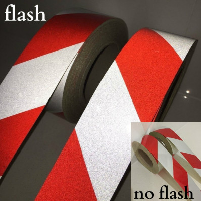 Cinta adhesiva reflectora de señalización de 50 mm rojo-blanco reflectante (5 cm)