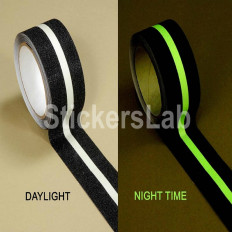 Non-slip tape 50 mm black/white luminescent glow in the dark sticker