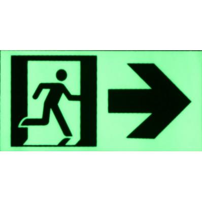 Cartello uscita di emergenza in PVC adesivo fosforescente fotoluminescente