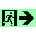 Cartello uscita di emergenza in PVC adesivo luminescente 4 pezzi