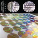garantie et sécurité hologrammes scelle or autocollants 100 et argenté 20 mm