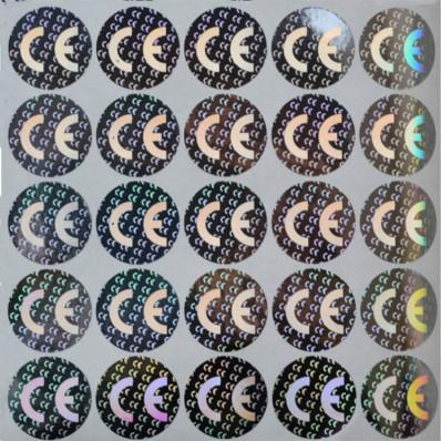 100 Etichette CE(Conformità Europea) adesive sigilli ologrammi di garanzia e sicurezza oro e argento 20mm