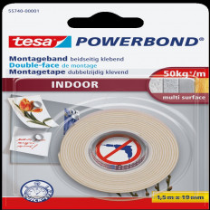 55740 ruban adhésif TESA marque fort intérieur sous blister 1, 5MT x 19 mm