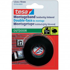 TESA 55750 blister Black Double-side adhesive Tape for outdoors - 1,5m x 19mm