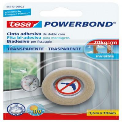 55743 Nastro biadesivo marca TESA in blister forte trasparente 1,5MT x 19mm