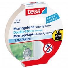 Двухсторонняя клейкая лента TESA бренд 55743 в сильный прозрачный блистер 1, 5MT x 19 мм