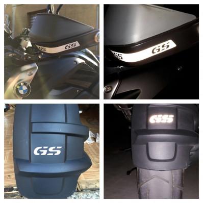 "4 Stickers adesivi rifrangenti neri scritta ""GS"" paramani e parafanghi BMW 1200GS"
