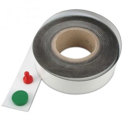 Nastro autoadesivo magnetico bianco con calamita 40mm al metro