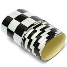 Fita Adesiva Refletiva Xadrez Preto E Branco para decorações