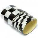 fita adesiva com bandeira reflexiva de carro branco / preto xadrez e moto