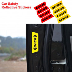 4 reflective safety stickers written OPEN car door