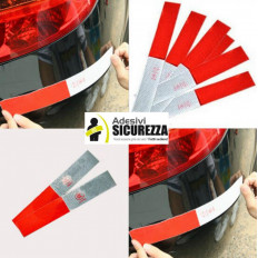 10 Strisce adesive rifrangenti 3M™ auto, camion - 30cm x 5cm bianco/rosso