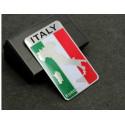 Adhesive flag in aluminum, logo 3D, Italy