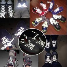 Шнурки обувь от отражающего отражающего черного / серебра