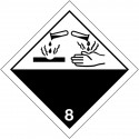 """Etiquetas de sinalização para os transportes internacionais """"materiais corrosivos"""""""