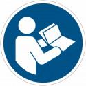 Placa de símbolo internacional ISO7010 – Ler o manual de utilização M002