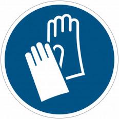 Placa de simbolo internacional IS0 7010 - Luvas de Proteção