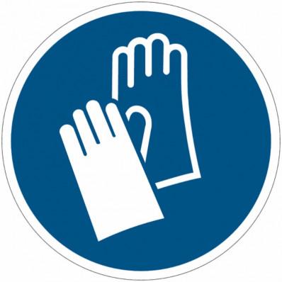 Cartelli di obbligo adesivi ISO 7010 Usare i guanti protettivi M009