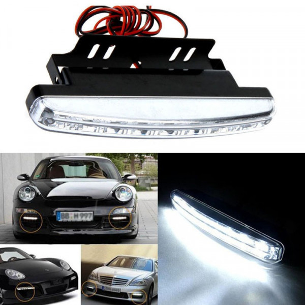 2 luce a 8 led drl antinebbia per auto a 6000k luce bianca for Led luce bianca