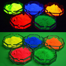 Coloured based Glow in the dark powders in five colours