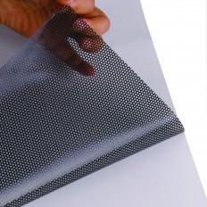 Folha adesiva em malhas perfuradas pretas de alta qualidade