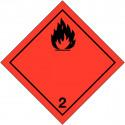 "Etichette in PVC classe 2.1 Segnaletica per trasporto internazionale ""Gas infiammabili"" ADR"