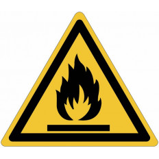 "ISO 7010 General Warning Sign for ""Flammable Materials"" W021"