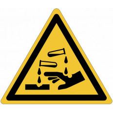 "ISO 7010 General Warning Sign for ""Caustic materials"" W023 Shop"