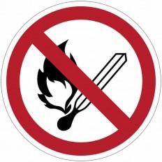 """Señales de prohibición - """"Prohibidas las llamas al descubierto"""" - P003"""