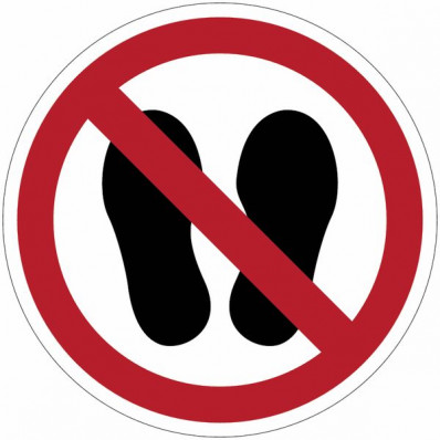 """Señales de prohibición ISO 7010 """"Prohibido entrar con zapatos""""-"""