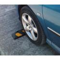 Tope de goma reflectante para rueda para estacionamientos comerciales, domésticos y privados, de color negro-amarillo