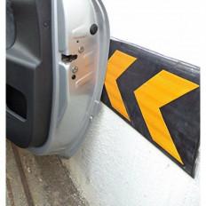 Tope protector reflectante en caucho para garajes y áreas de aparcamiento – amarillo y negro