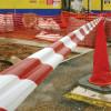 Fita de advertência branca e vermelha - 70 milímetros x 200m