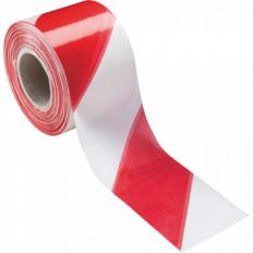 Nastro segnaletico bianco/rosso in polietilene 200 mt x 70mm scatola da 24 pz