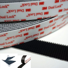 Rollo en velcro adhesivo negro Dual Lock™ de la marca 3M™, serie SJ 3550 en varios tamaños