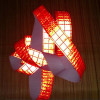 High visibility fluorescent red reflective fabric sew on tape -