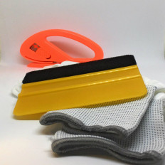 Car wrap application kit (Gloves – 3M™ gold squeegee – Snitty cutter)