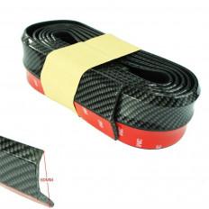 Protezione Universale labbro spoiler paraurti auto in gomma dura 2,5MT modello carbonio