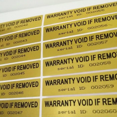"100 ""Warranty void if removed"" Adhesive anti-tampering labels"