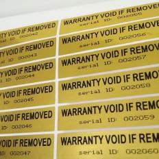 100 Etiquetas autocolantes com selo de garantia e ID de