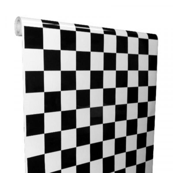 Carraux Noir Et Brillant : Film autocollant en vinyle noir et blanc à carreaux