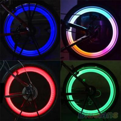 2 Luces Led multicolor para Válvula de Rueda de Bicicleta en 4