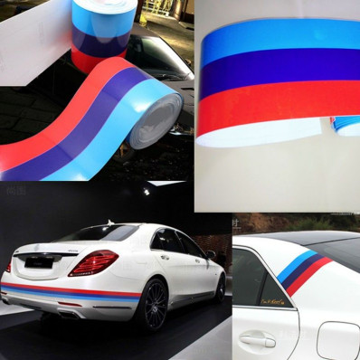Glossy Adhesive Flag Bmw M Series Racing Sport For Car
