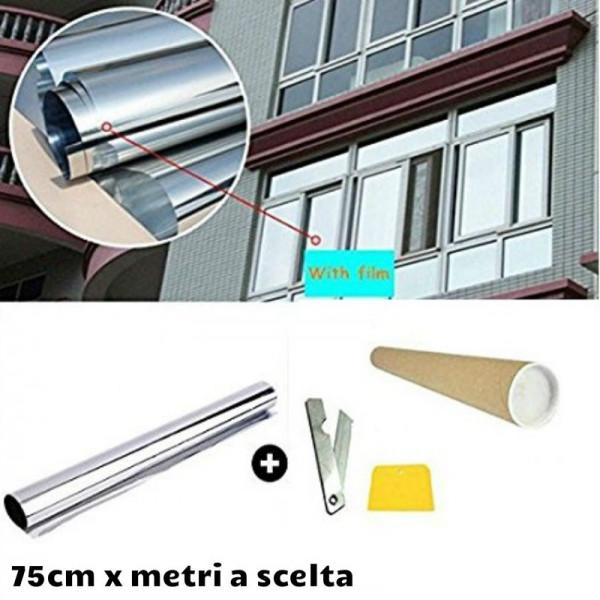 Pellicola effetto specchiato per finestre e vetrate colore argento shop online - Pellicola riflettente per finestre ...