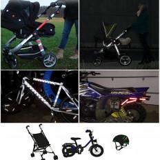 13 adesivi misti riflettenti per rendere visibili passeggini, bici,moto,casci e tanto altro