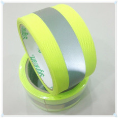 Yellow/Grey reflective fabric sew on tape - 30/50mm x 2MT