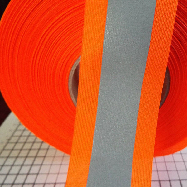 Orange Grey Reflective Fabric Sew On Tape 50mm X 2mt