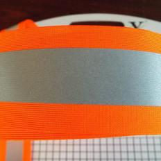 Reflectante de coser la cinta de refracción combinado de color amarillo / gris 30/50 mm x 2MT
