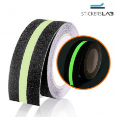 Black Anti-Slip adhesive tape with luminescent line - 50mm